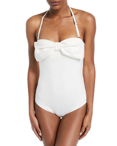 strapless bow bandeau one-piece swimsuit