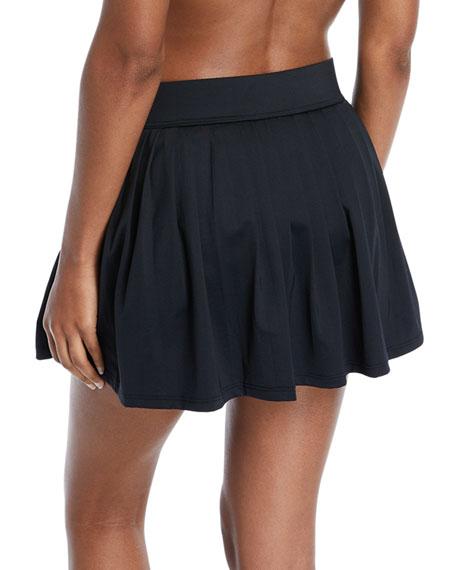 pleated a-line mini swim coverup skirt
