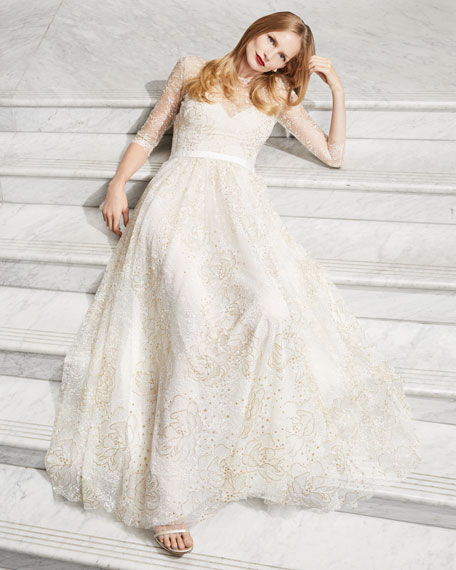 Glitter Tulle Sweetheart Illusion Gown