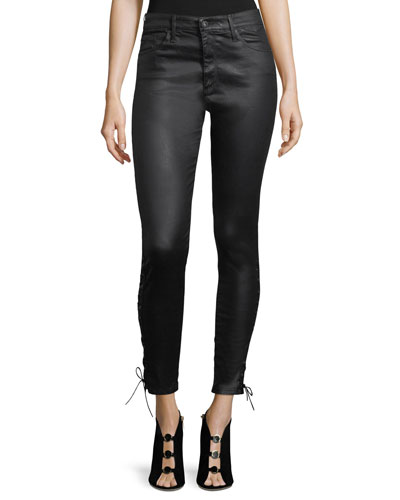 Farrah Ankle Side-Lace Faux-Leather Pants