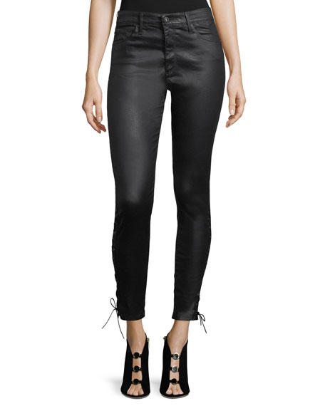 AG Farrah Ankle Side-Lace Faux-Leather Pants