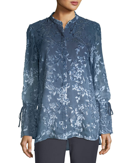 Lafayette 148 New York Desra Ombré Leaves Blouse