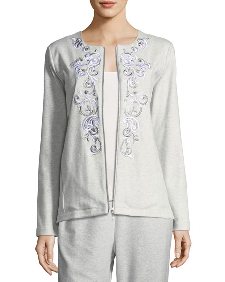 Joan Vass Embroidered Zip-Front Jacket, Plus Size