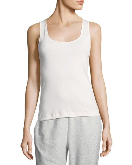 Joan Vass Rib Scoop-Neck Layering Tank, Plus Size