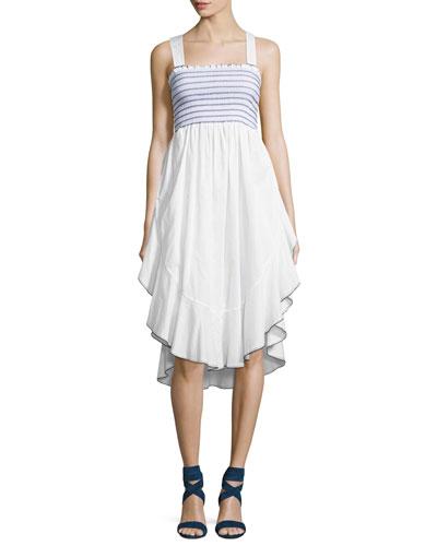 Lia Smocked-Bodice Cotton Sundress
