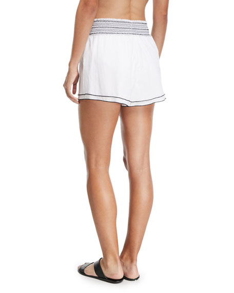 Gal Smocked Poplin Coverup Shorts