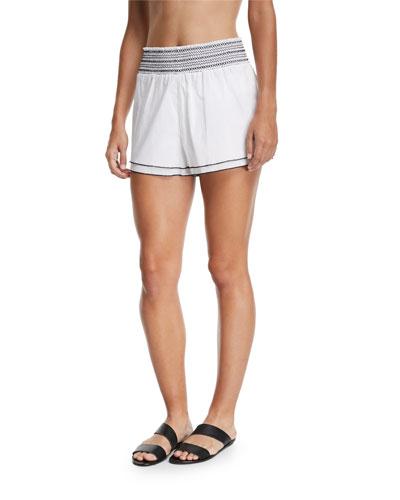 Gal Smocked Poplin Coverup Shorts