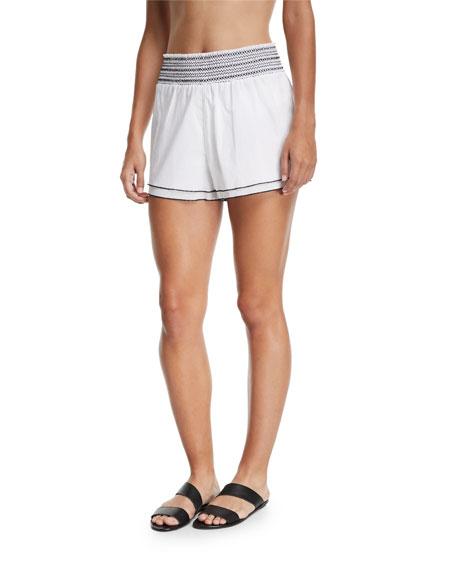 KISUII Gal Smocked Poplin Coverup Shorts in White