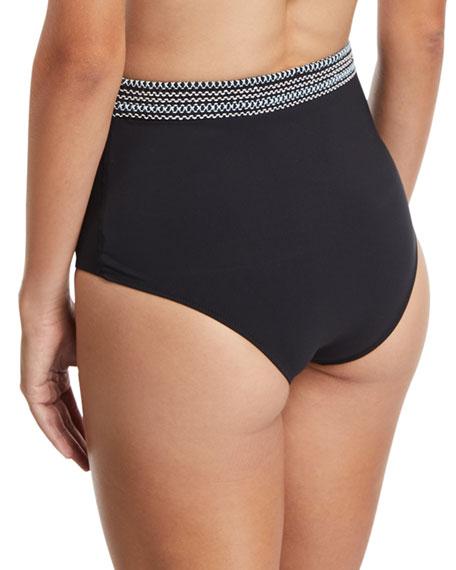 High-Waist Smocked-Band Swim Bikini Bottoms, Black
