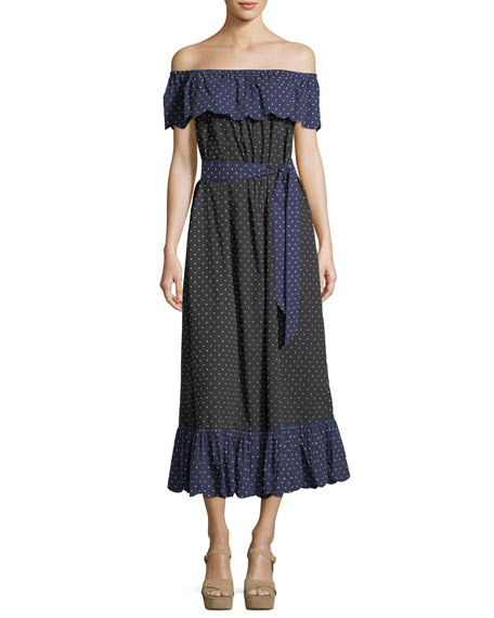 Marysia Off-the-Shoulder Polka-Dot Coverup Dress