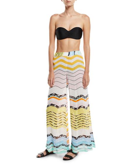 Zigzag Wide-Leg Coverup Pants