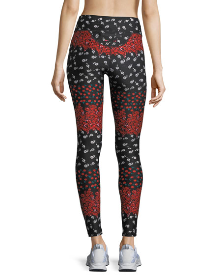 Drawstring Floral-Print Compression Yoga Pants