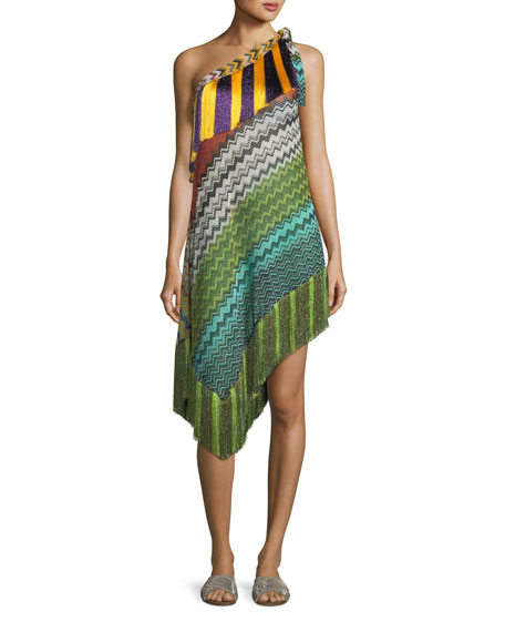 Missoni Mare Fringe-Trim Short Asymmetric Beach Dress