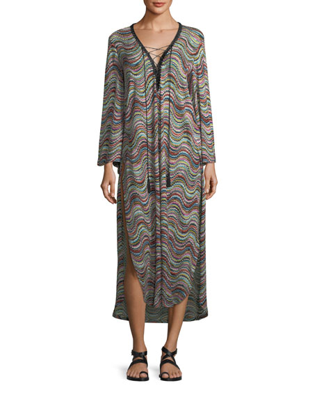Missoni Mare Long-Sleeve Lace-Up Side-Slit Beach Dress