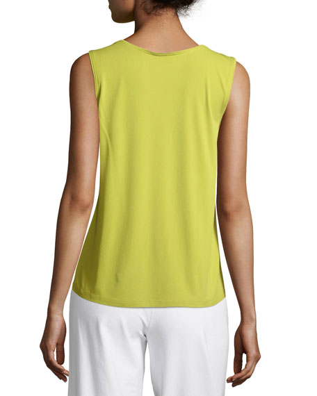 Stretch Silk Jersey Scoop-Neck Tank Top, Petite