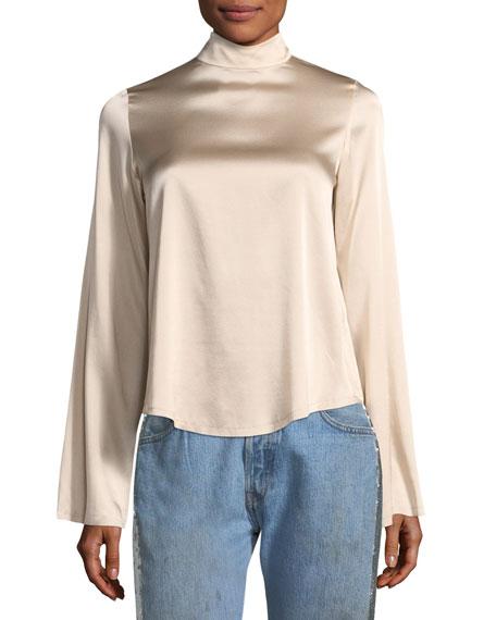Mock-Neck Long-Sleeve Silk Satin Blouse