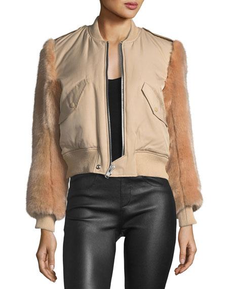 Faux-Fur Zip-Front Bomber Jacket