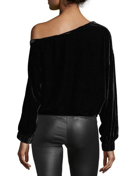 One-Shoulder Long-Sleeves Velvet Top