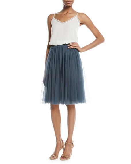 A-Line Tulle Midi Skirt