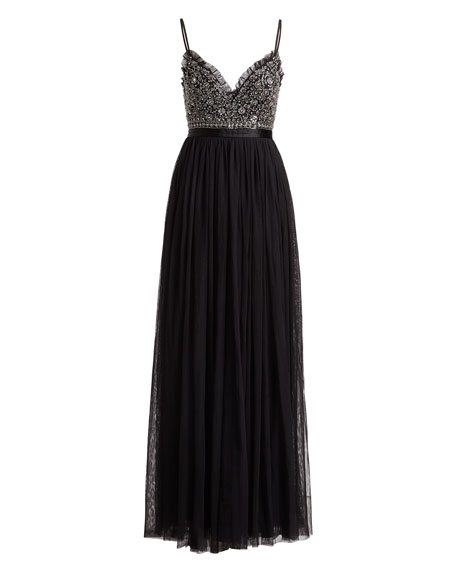 Andromeda Sweetheart Embellished-Bodice Evening Gown