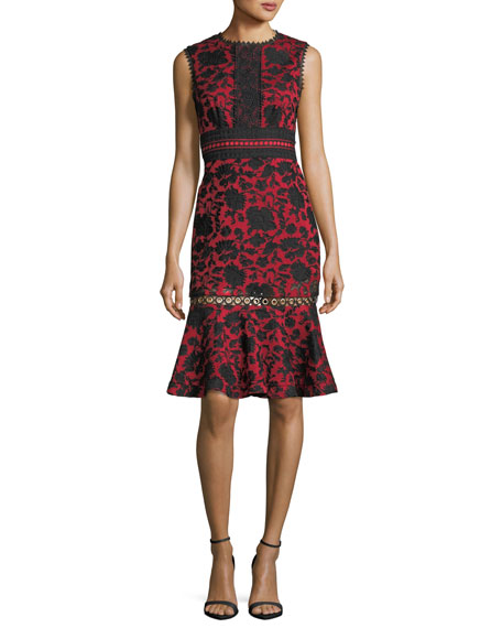 Saloni Trudi-B Sleeveless Floral-Embroidered Dress with Grommet