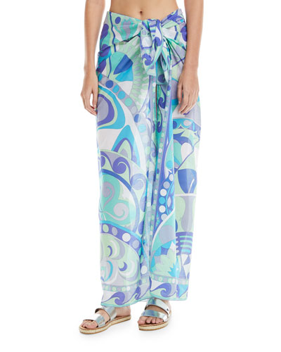 Printed Pareo Cotton Coverup, One Size