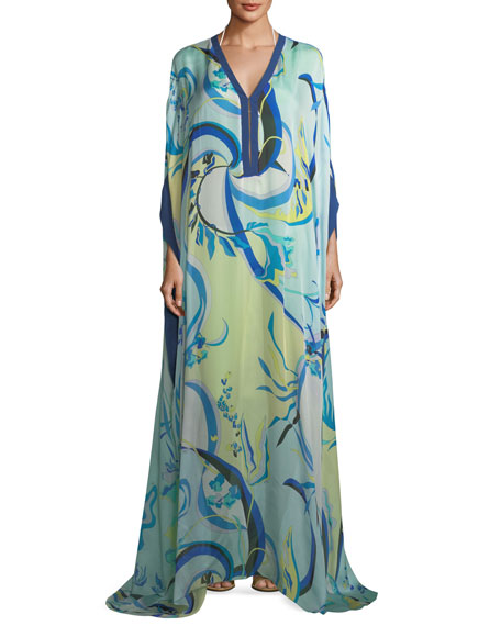 Emilio Pucci Long-Sleeve Silk Printed Long Kaftan
