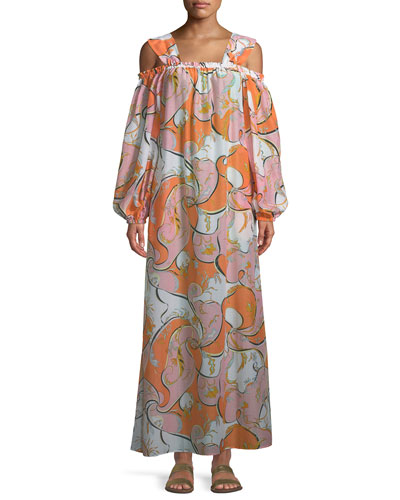 Natsri-Baby Printed Off-the-Shoulder Cotton-Silk Maxi Dress