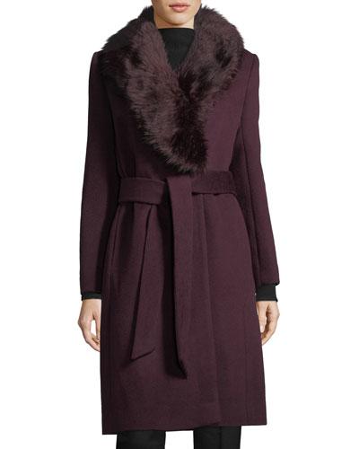 Lenoria Faux-Fur Collar Belted Wool-Blend Coat