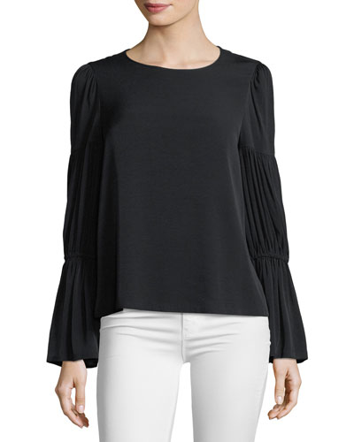 Amund Crewneck Pleated-Sleeve Blouse