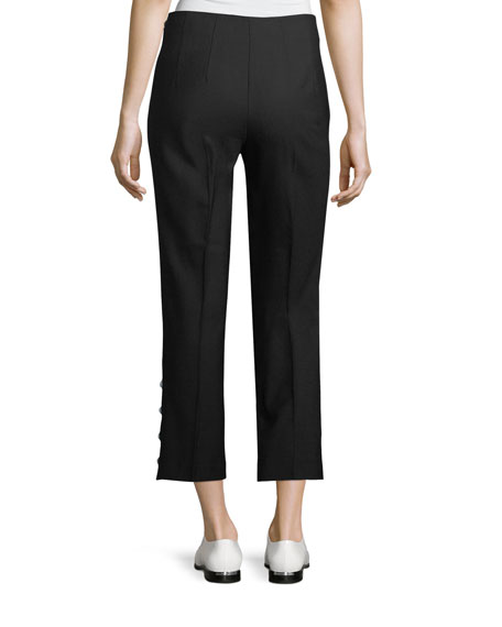 Linzee Straight-Leg Ankle Pants with Studded Trim