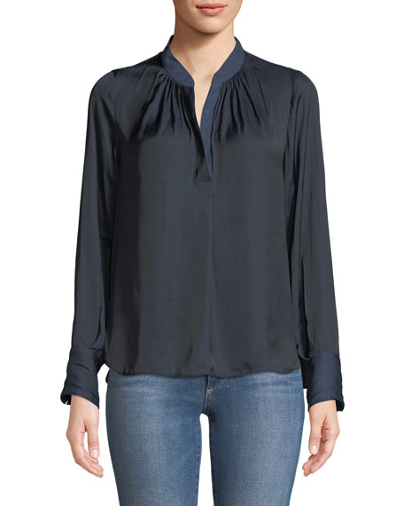 Tink Split-Neck Long-Sleeve Top