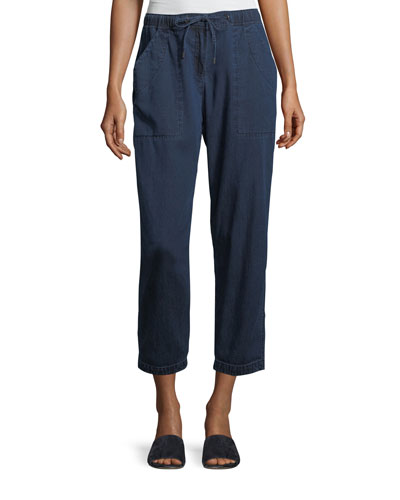 Slouchy Denim Drawstring Ankle Pants, Plus Size