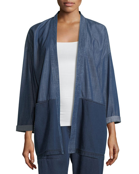 Tencel® Organic Cotton Denim Kimono Jacket, Plus Size