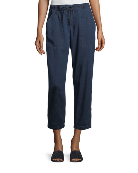 Eileen Fisher Slouchy Denim Drawstring Ankle Pants, Petite