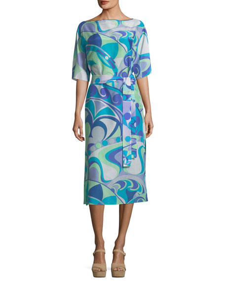 Emilio Pucci Short-Sleeve Boat-Neck Printed Midi Dress