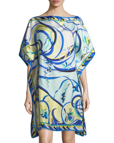 Short-Sleeve Printed Silk Coverup Caftan