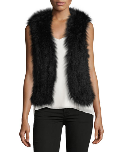 Violet Marabou Feather Vest, Black