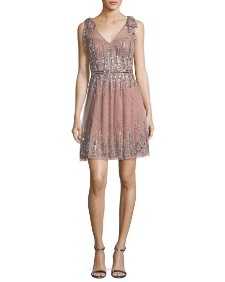 Aidan Mattox Embellished A-Line Mini Dress