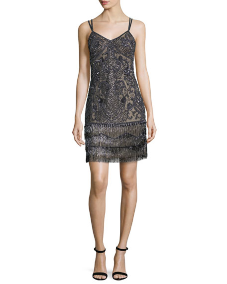 Aidan Mattox Beaded Fringe Embellished Cocktail Dress
