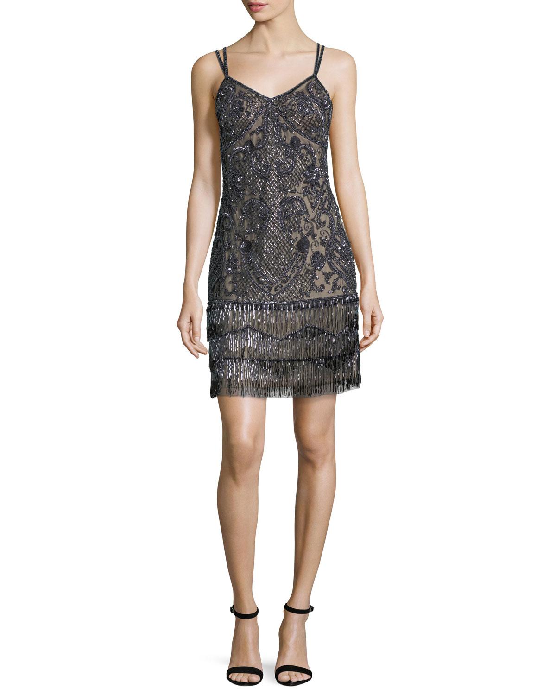 Aidan Mattox Beaded Fringe Embellished Cocktail Dress | Neiman Marcus