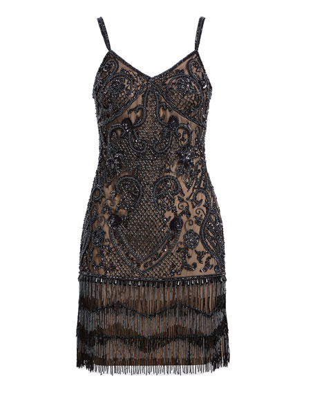 Beaded Fringe Embellished Cocktail Dress
