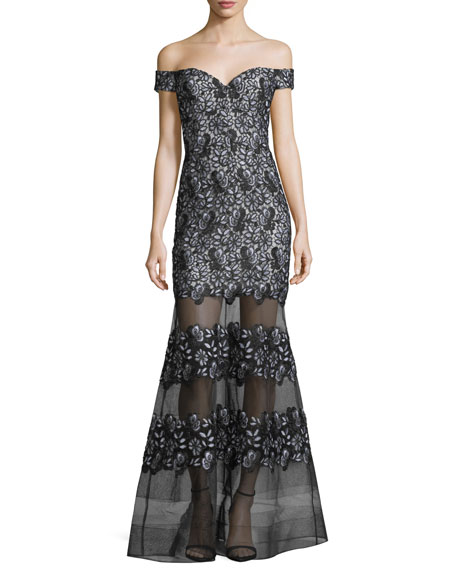 Aidan Mattox Off-the-Shoulder Embroidered Striped Gown