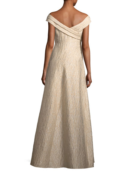 Off-the-Shoulder Jacquard A-Line Gown