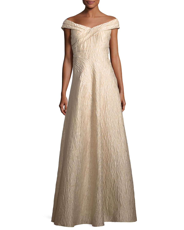 Aidan Mattox Off-the-Shoulder Jacquard A-Line Gown | Neiman Marcus
