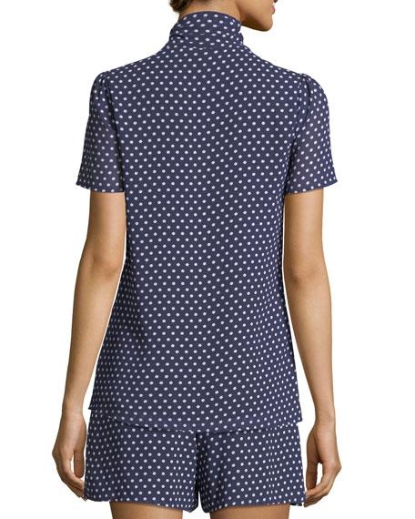 Tie-Neck Dot-Print Top