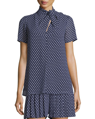 Tie-Neck Dot-Print Top