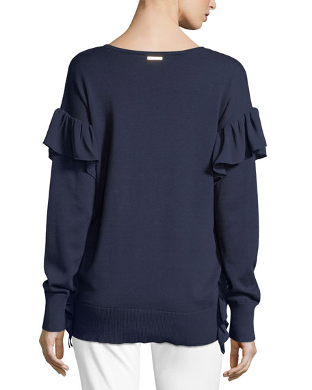 Ruffled-Trim Cotton Sweater
