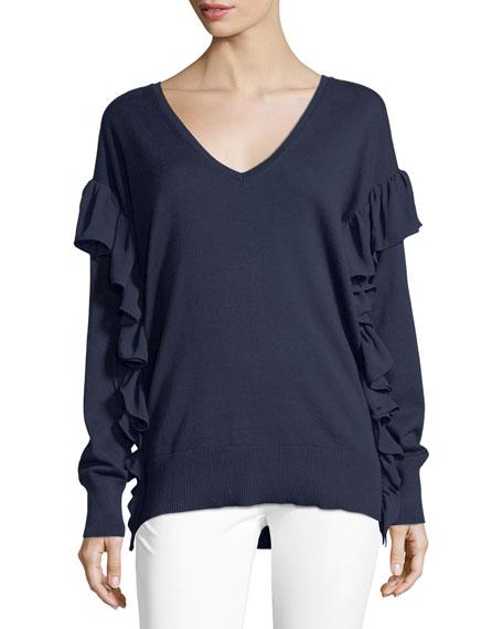 Ruffled-Trim Cotton Sweater