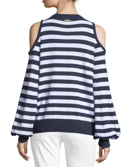 Striped Cold-Shoulder Sweater